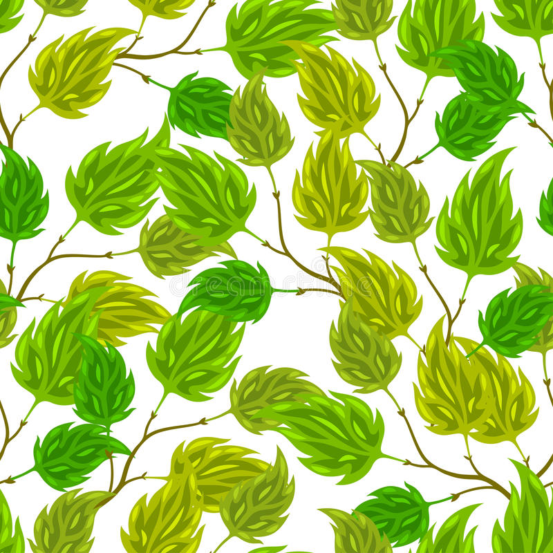 Download Seamless Nature Pattern With Stylized Green Leaves Stock Photo - Image of fresh, leaf: 63832354