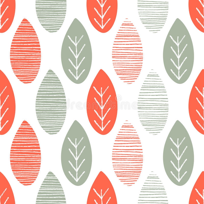 Seamless nature vector pattern. Orange and green leaves with lines and twigs on white background. Hand drawn autumn ornament. Seamless nature vector pattern stock illustration