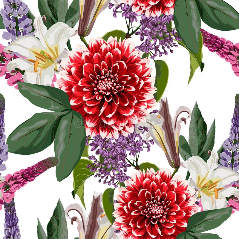 seamless naturmodell Utdragen sommarbakgrund för hand: röd dahlia, lila, liljor och lupinesblommor royaltyfri illustrationer