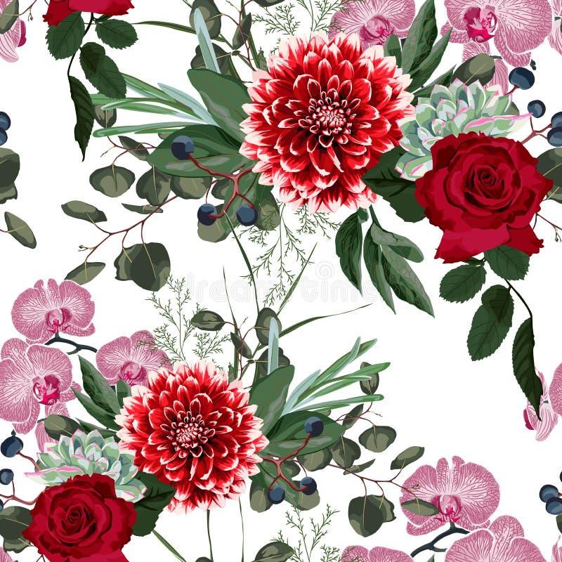 seamless naturmodell Utdragen sommarbakgrund för hand: suckulent, örter och rosa orkidé, röda rosor och dahliablommor stock illustrationer