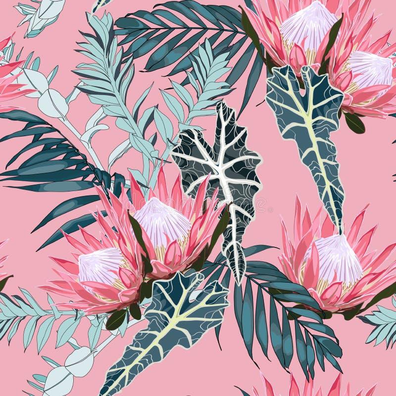 seamless naturmodell Utdragen tropisk sommarbakgrund för hand: exotiska blåa sidor och rosa proteablommor stock illustrationer