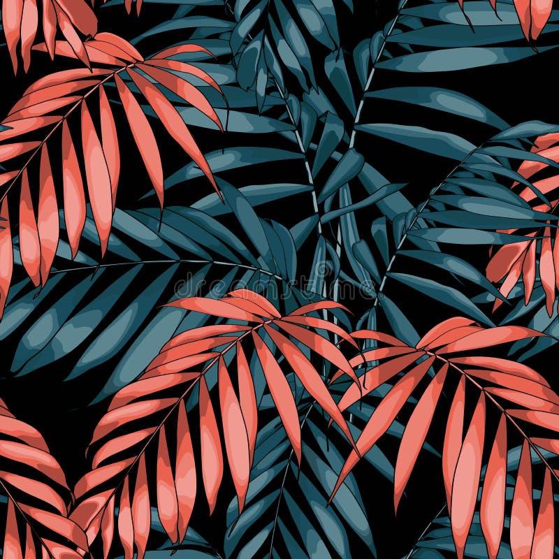 seamless naturmodell Utdragen tropisk sommarbakgrund för hand: orange och blåa palmträdsidor, linje konst vektor illustrationer