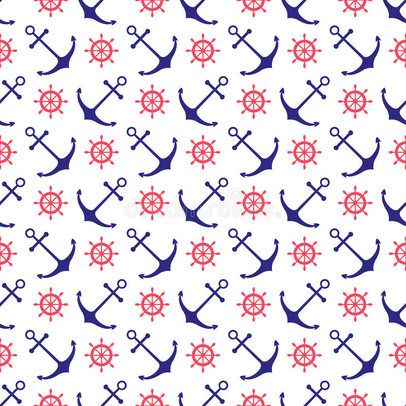 Seamless nautical background with anchors and ship vector illustration