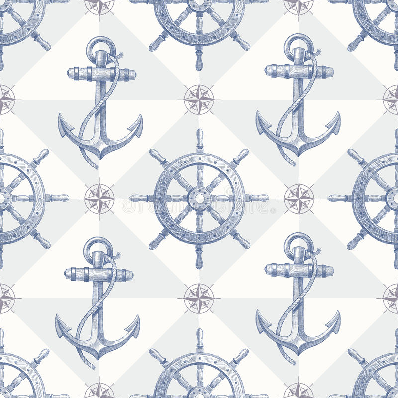 Seamless nautical background with hand drawn eleme royalty free illustration