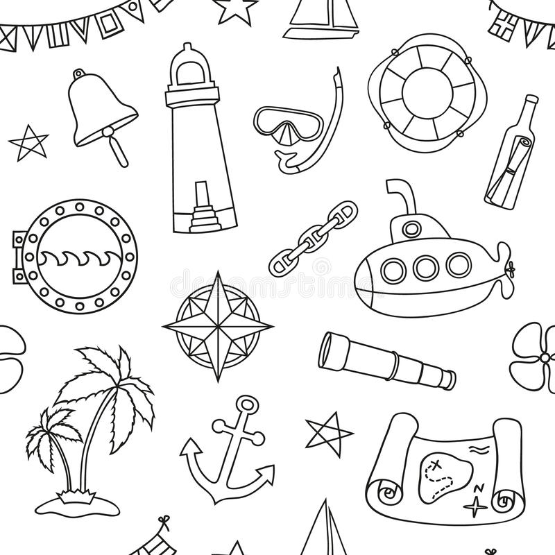 Seamless nautical pattern stock vector Illustration of