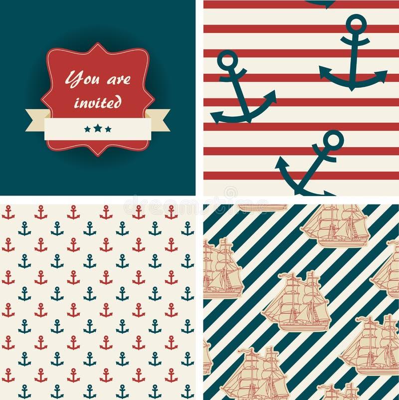 Seamless nautical patterns royalty free stock photos