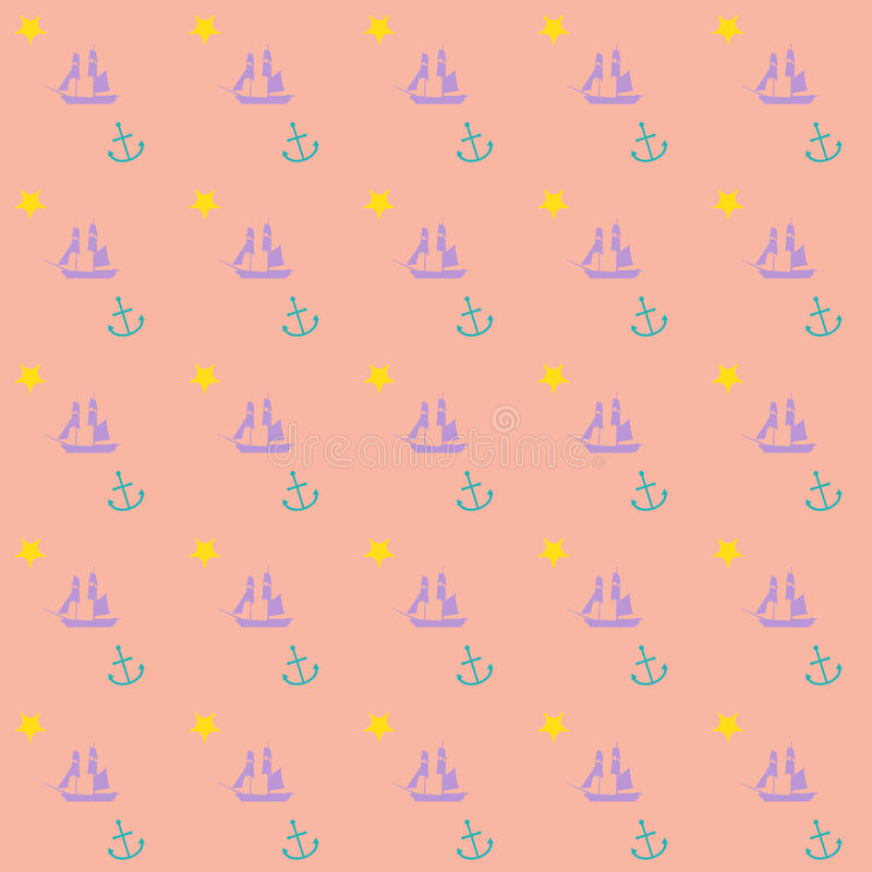 Seamless nautical preppy theme vector background wallpaper. Seamless nautical theme boat background vector pattern with boat, anchor, star vector illustration
