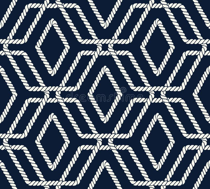 Seamless nautical rope pattern with hexagon shapes royalty free illustration