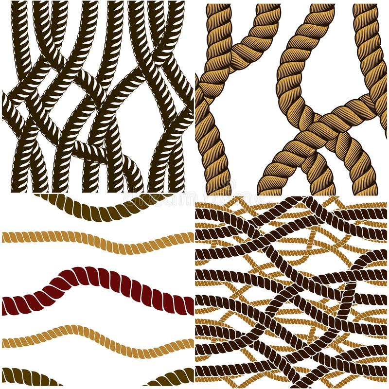 Seamless nautical rope patterns vector set. Endless navy illustration with loop cord lines ornaments collection. Endless navy ill vector illustration