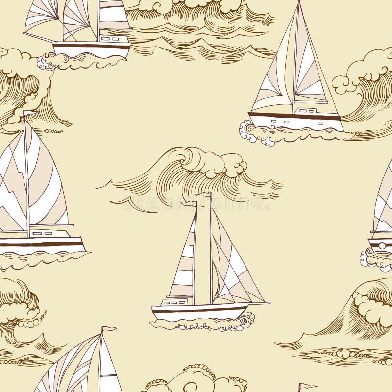 seamless nautisk modell stock illustrationer