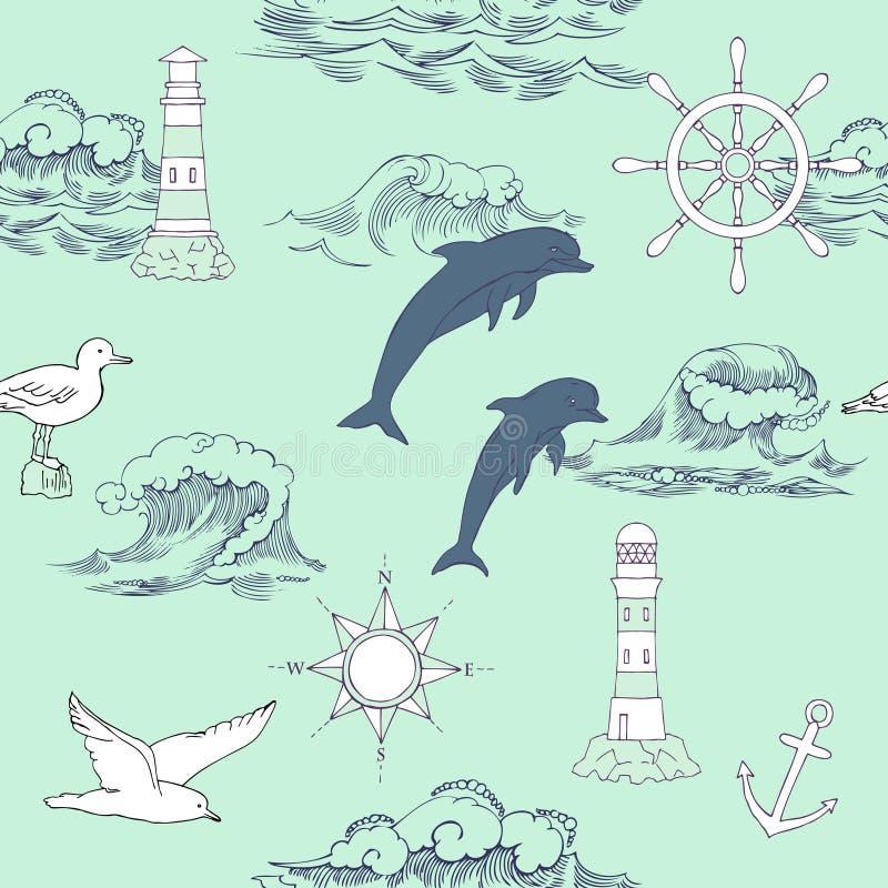 seamless nautisk modell royaltyfri illustrationer