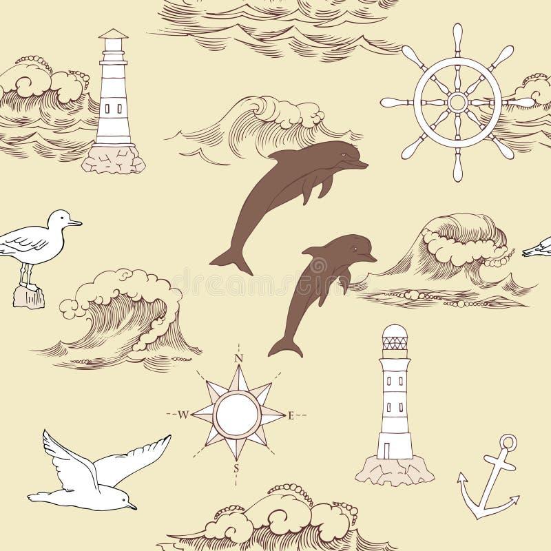 seamless nautisk modell vektor illustrationer