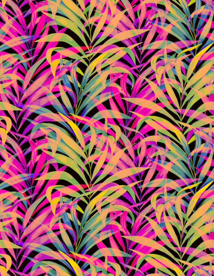 Seamless neon palm pattern. Seamless watercolor palm pattern with layered colorful neon palm leaves and beautiful silhouettes and transparencies royalty free stock photo