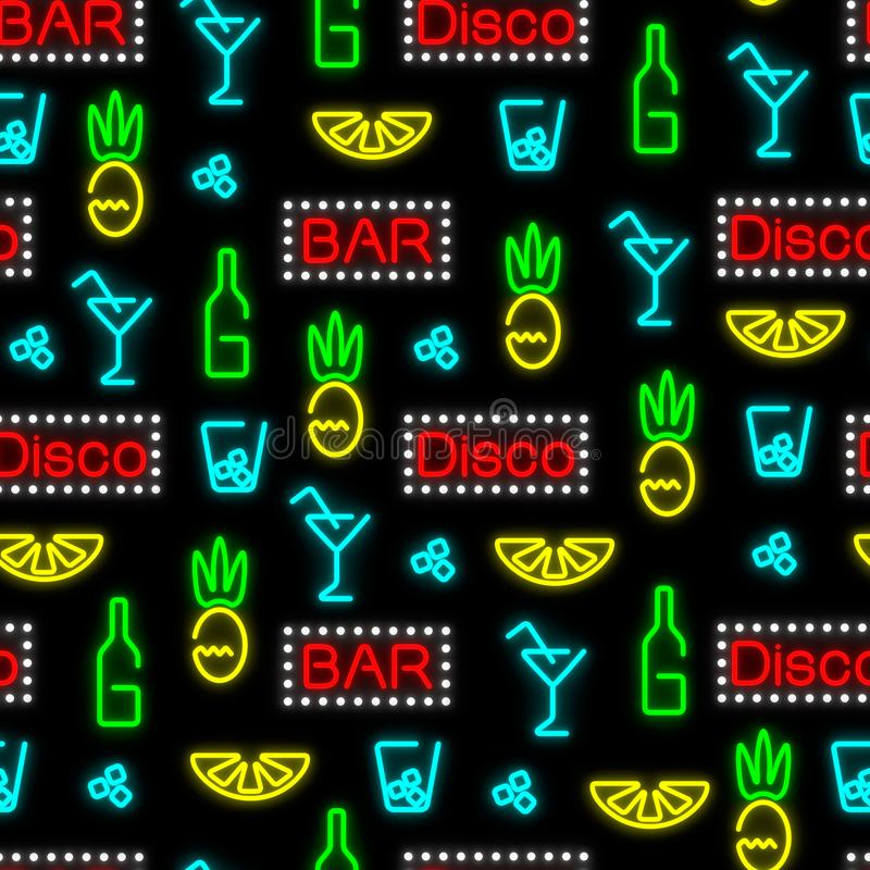 Seamless neon pattern. Night club, bar. Direct arrangement of elements. stock illustration