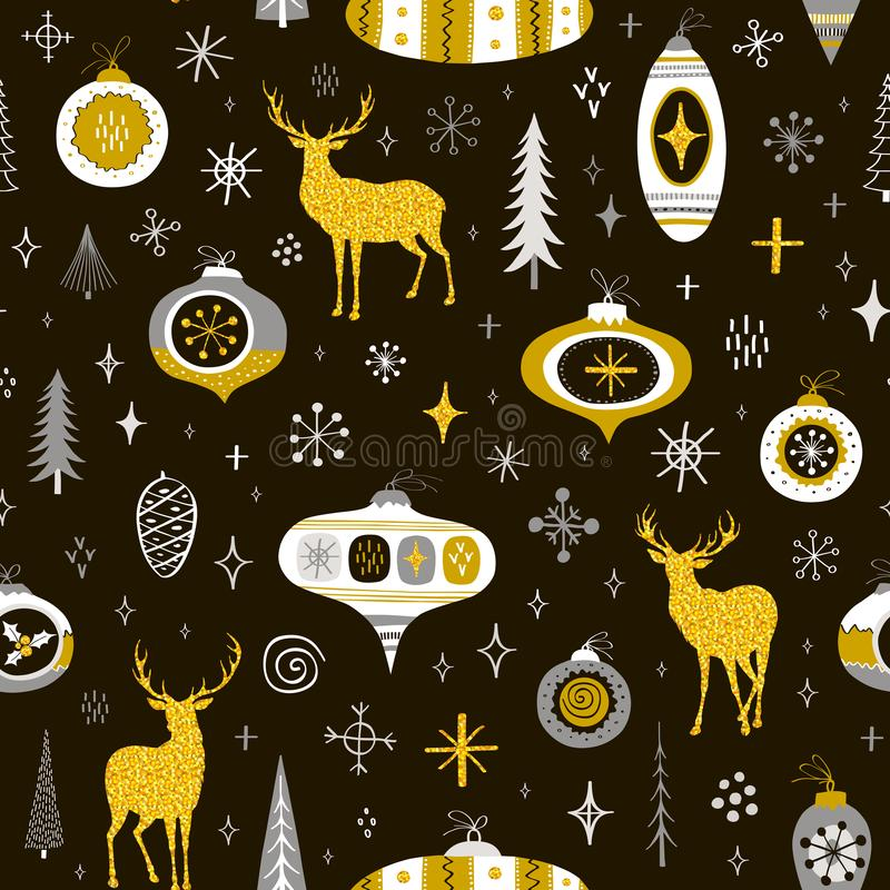Seamless New Year pattern with golden deers, balls and snowflakes.Vector texture stock illustration