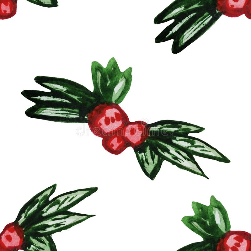 Seamless New Year pattern with holly. A botanical Christmas print in watercolor. The pattern is perfect for wrapping paper. White vector illustration