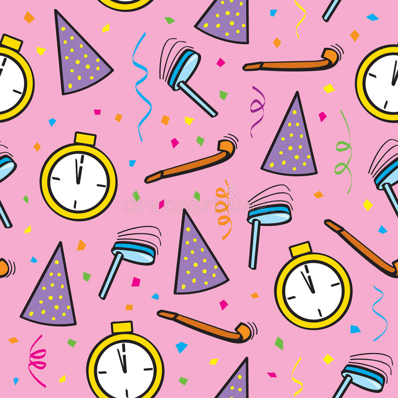 Seamless New Years Eve. A seamless pattern of New Year's Eve party objects royalty free illustration