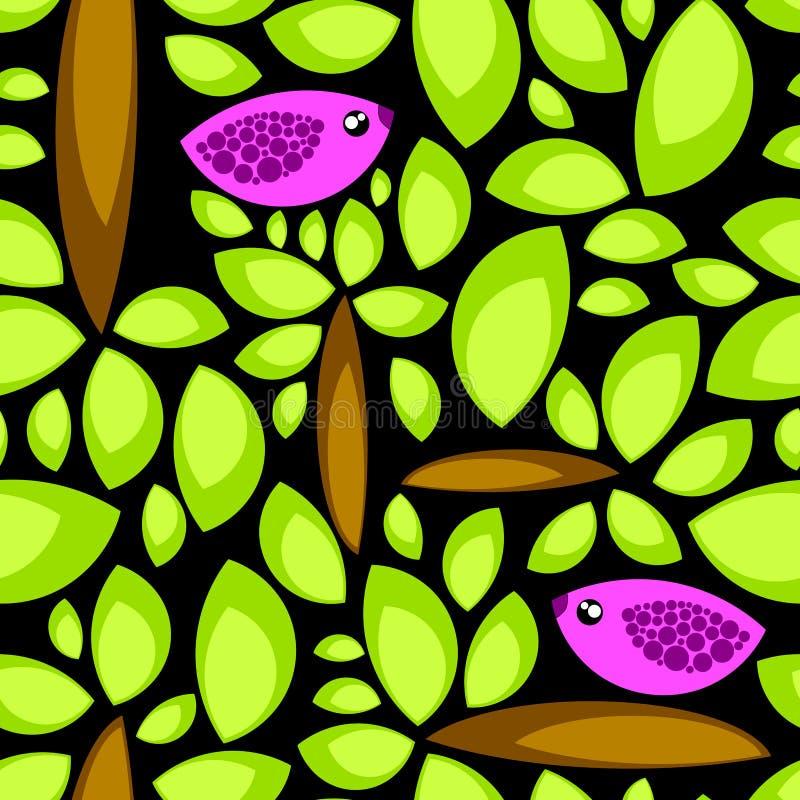 Seamless night birds on trees vector illustration