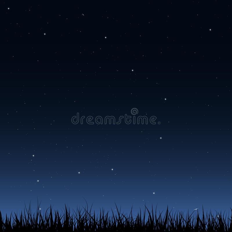 Seamless night sky and grass royalty free illustration