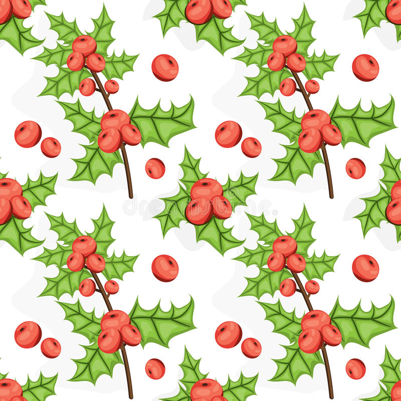 Seamless Noel pattern with holly berry. Tile Christmas background. Vector illustrated repeating texture. Holiday wrapping paper. vector illustration