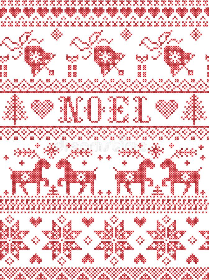 Seamless Noel Scandinavian fabric style, inspired by Norwegian Christmas, festive winter pattern in cross stitch with reindeers stock illustration