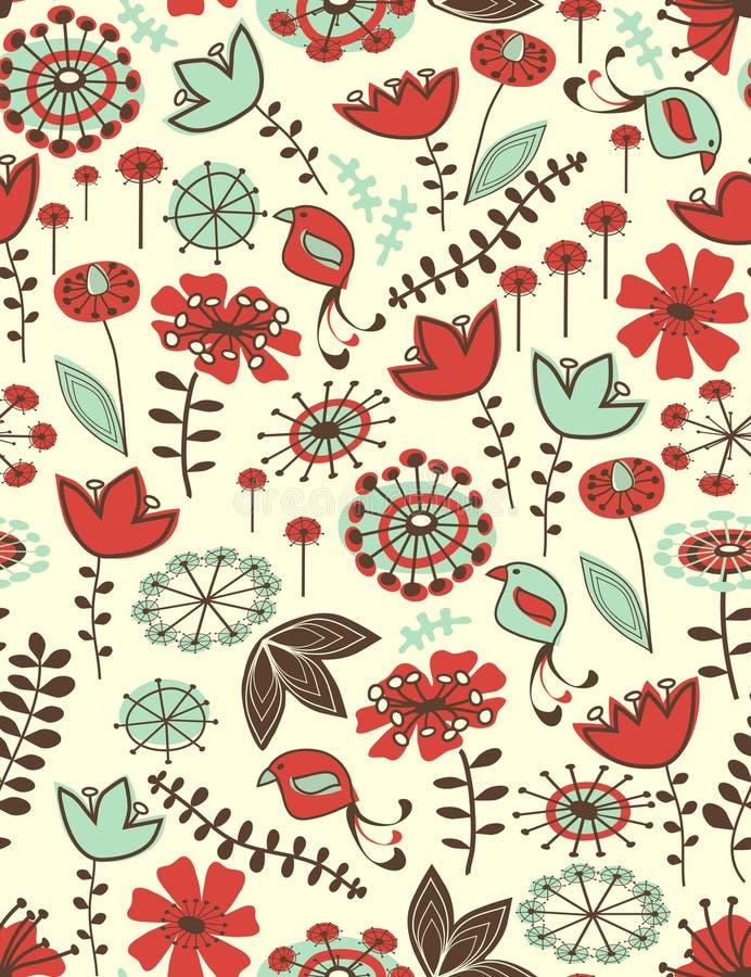seamless nyckfullt för blom- modell stock illustrationer