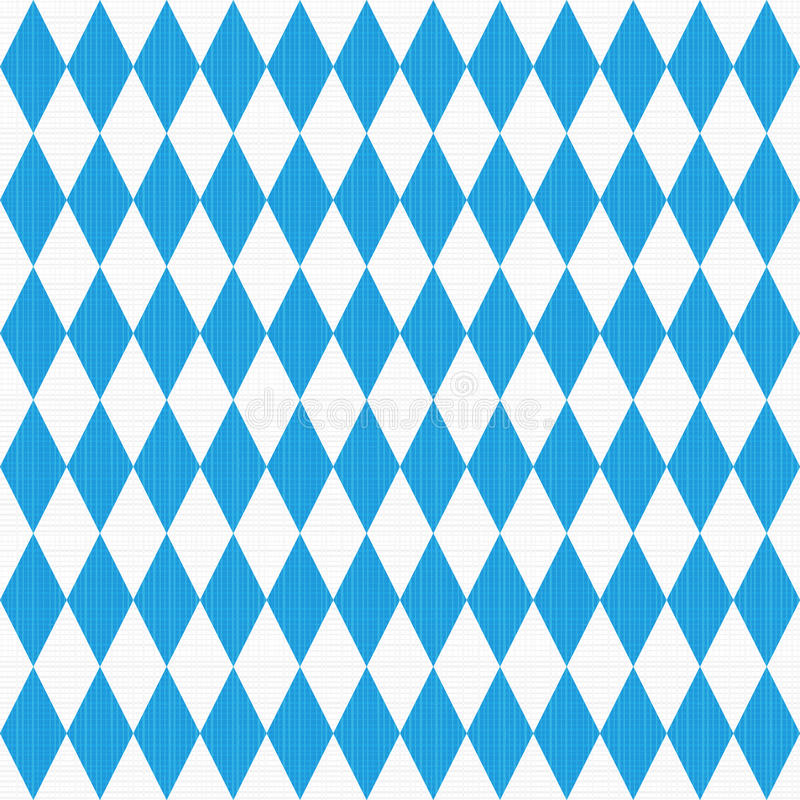 Seamless Oktoberfest pattern with fabric texture. Seamless, or repeat, Oktoberfest and Bavarian flag pattern or background with fabric texture. Flat colors used royalty free illustration