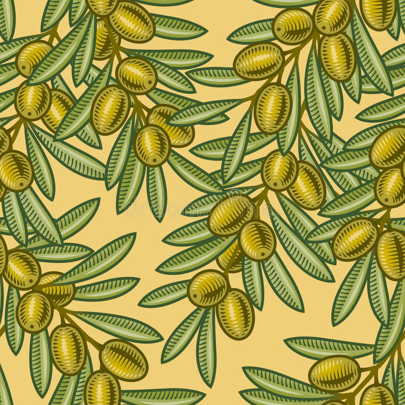 Seamless olive background. In woodcut style. Vector illustration with clipping mask royalty free illustration