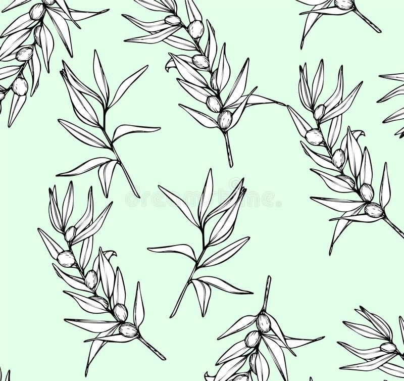 Seamless olive branch pattern stock image