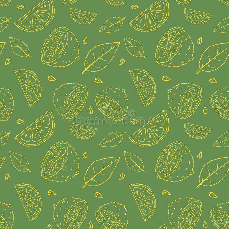 Seamless olive green vector pattern with doodles of yellow sliced lemons and leaves stock photography