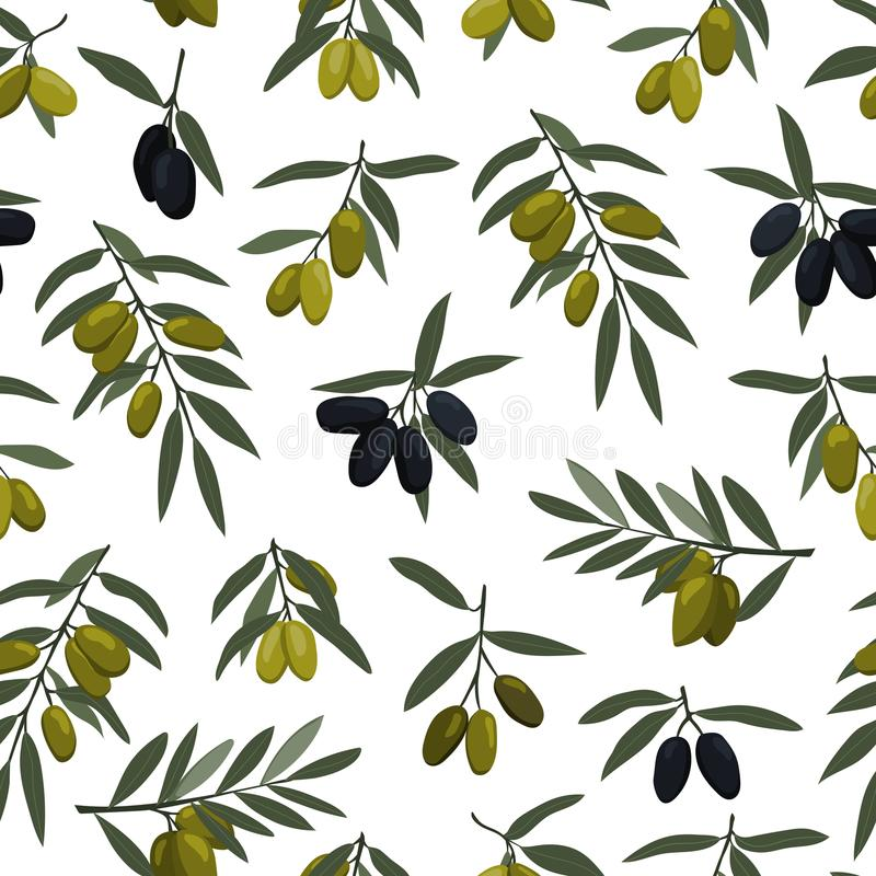 Seamless olives branches pattern with black and green olives stock illustration