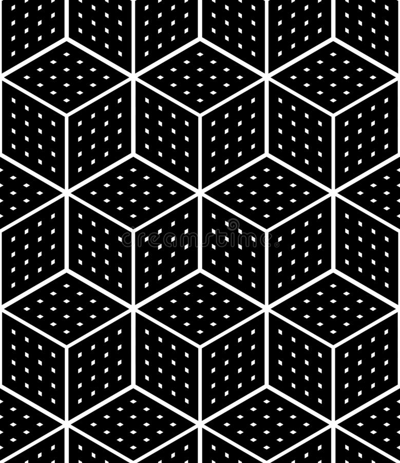 Seamless op art geometric pattern. 3D illusion. Black isometric. Background and texture. Vector art royalty free illustration