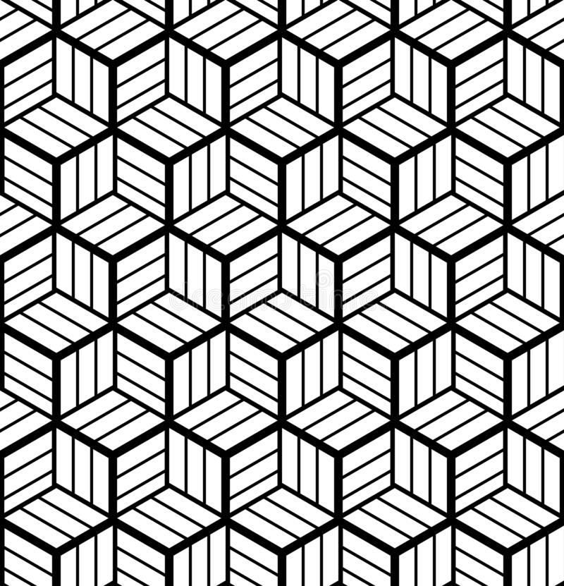 Seamless op art geometric pattern. 3D illusion. Black and white background and texture. Vector art vector illustration
