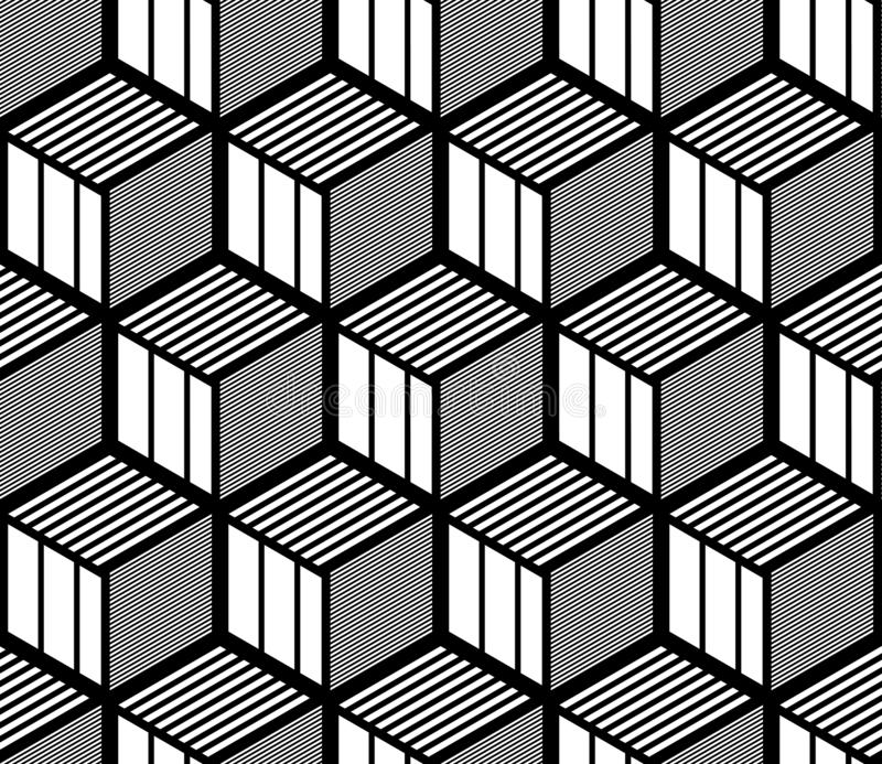 Seamless op art geometric pattern. 3D illusion. Black and white isometric background and texture. Vector art royalty free illustration