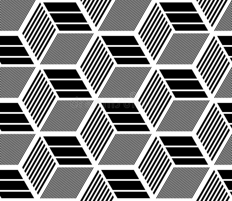 Seamless op art geometric pattern. 3D illusion. Black and white isometric background and texture. Vector art stock illustration
