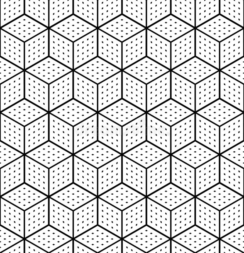 Seamless op art geometric pattern. 3D illusion. White isometric background and texture. Vector art stock illustration