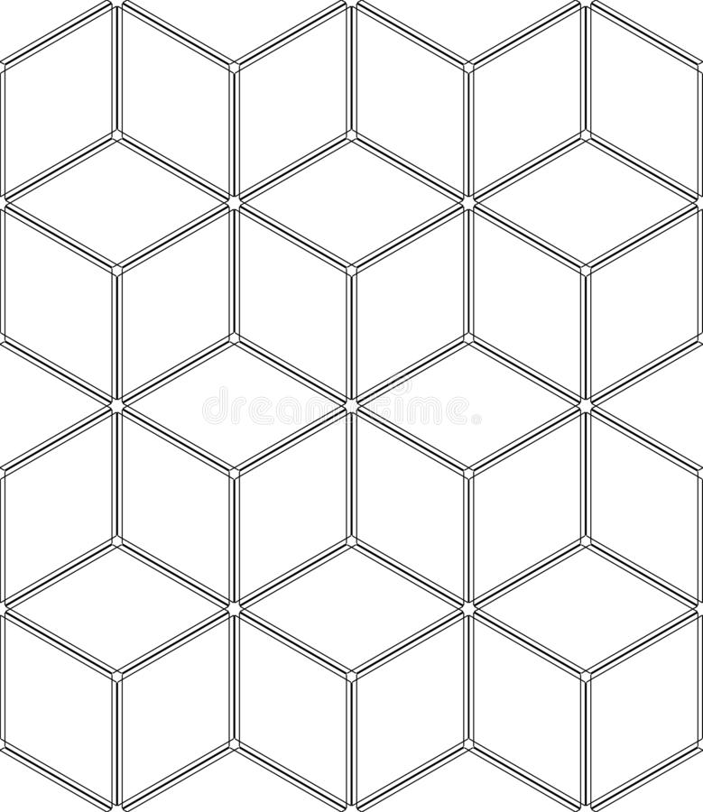 Seamless op art geometric pattern. 3D illusion. White isometric background and texture. Vector art vector illustration