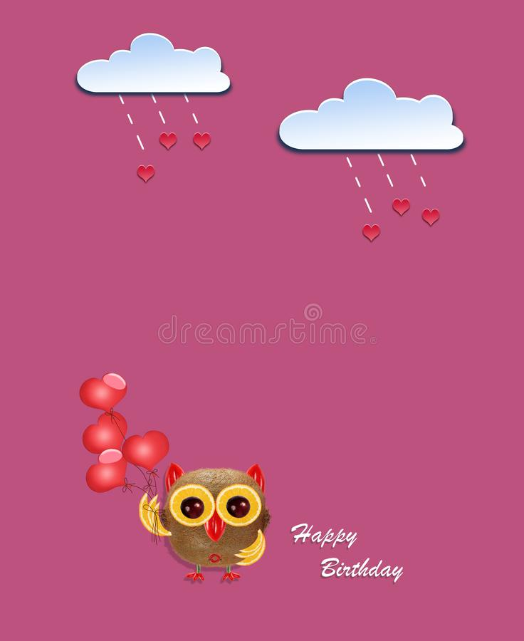 Creative birthday concept photo of paper clouds with hearts and owl made of fruits on pink background. stock illustration