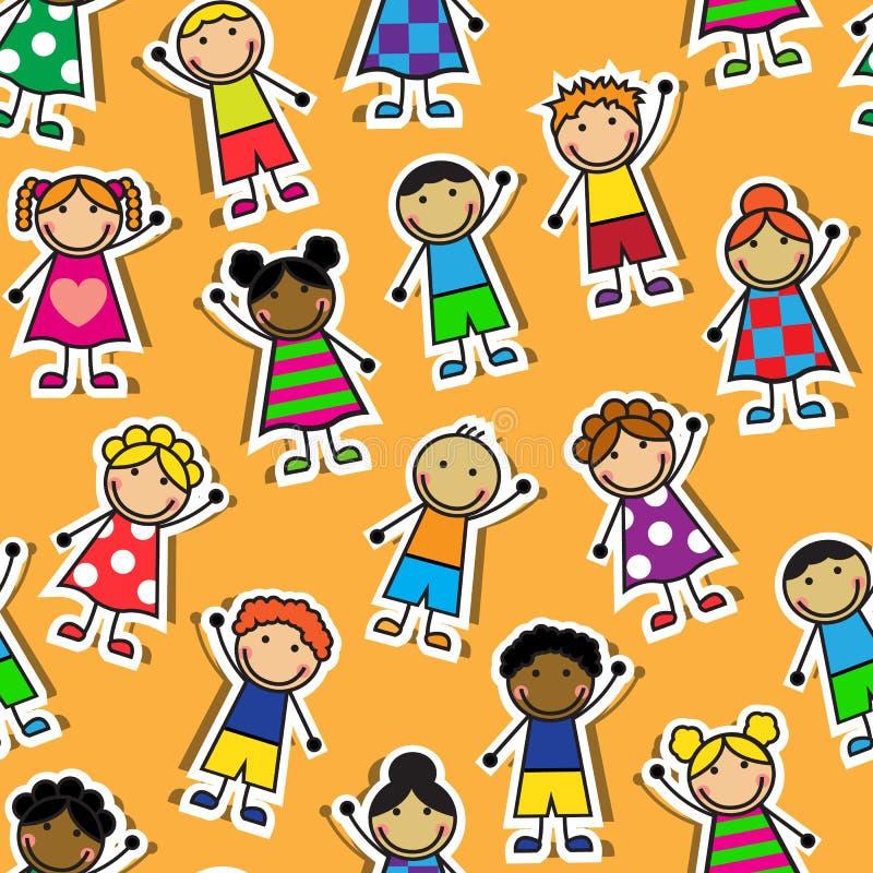 Seamless orange background with Cartoon children vector illustration