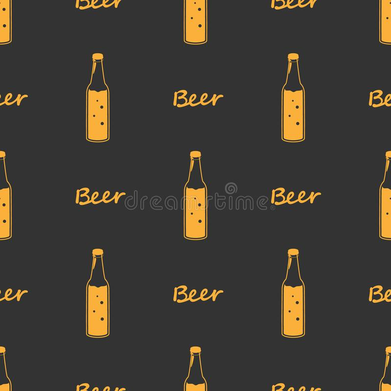 Seamless orange pattern beer bottles, line drawing Design fabric or wrapping paper Oktoberfest decoration. Silhouettes vintage stock illustration