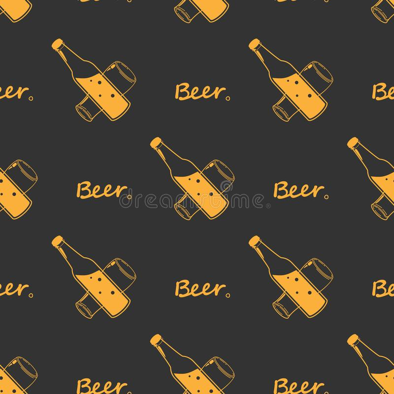 Seamless orange pattern beer glass and bottles, line drawing Design fabric or wrapping paper Oktoberfest decoration. Silhouettes royalty free illustration