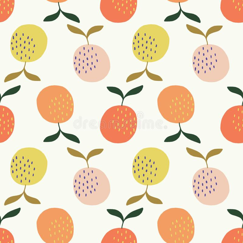 Seamless orange, pink and yellow oranges vector pattern vector illustration