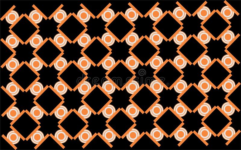 Seamless orange circle and squere combination geometrical shape repetitive ethnic pattern. Seamless orange squere geometricrepetitive background pattern suitable stock illustration