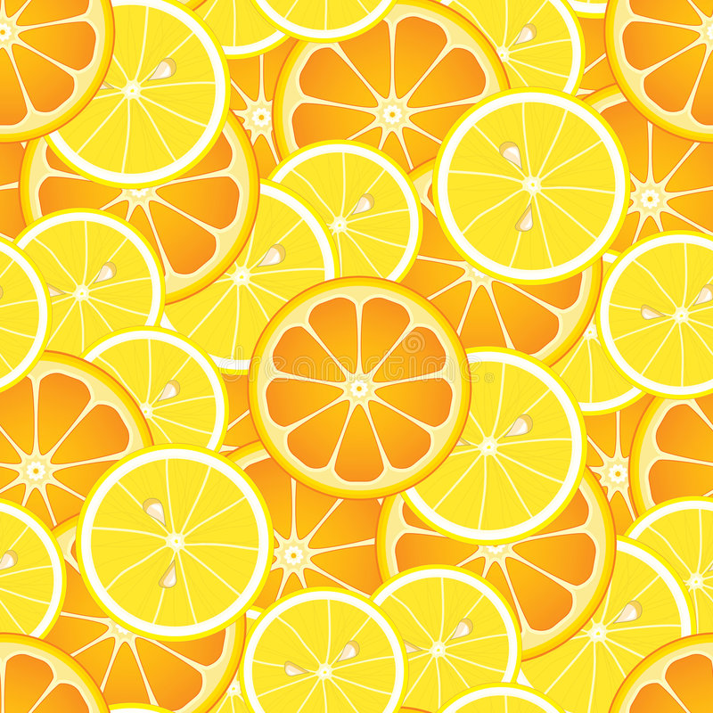 Seamless Oranges And Lemons Royalty Free Stock Images
