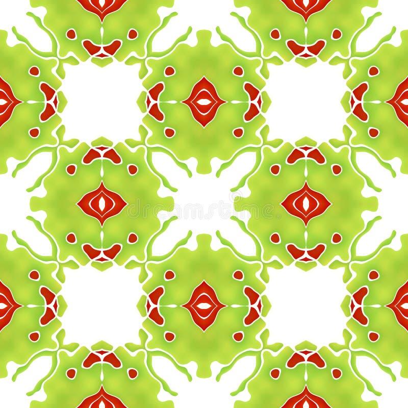 Seamless organic colorful abstract mosaic green pattern making g stock illustration