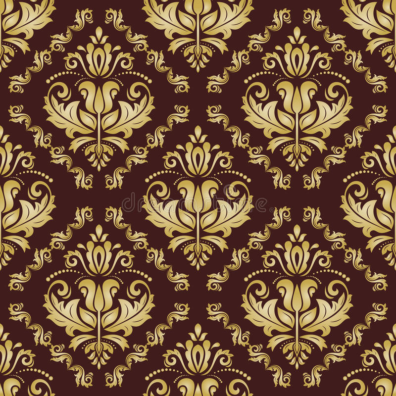 Seamless Orient Background. Oriental fine brown and golden pattern. Seamless classic wallpaper vector illustration