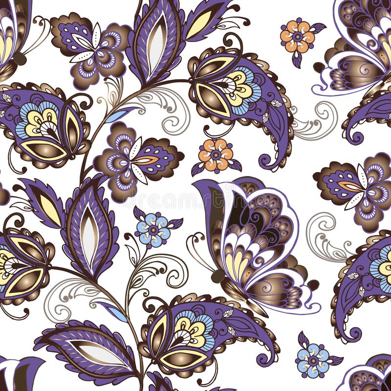 Seamless oriental floral pattern with butterflies. Vintage flowers seamless ornament in blue colors. Decorative ornament stock illustration