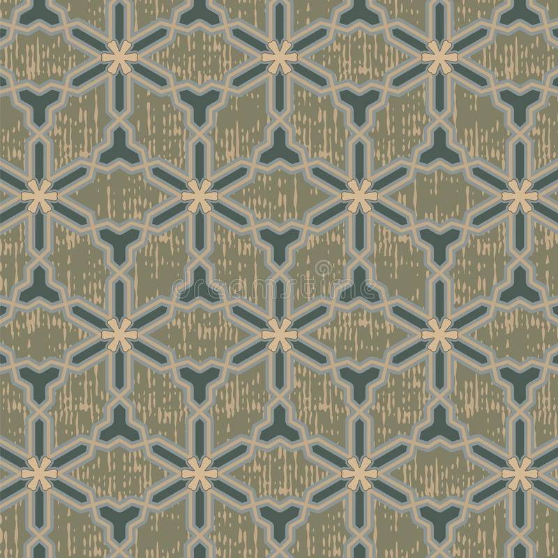 Seamless oriental pattern with grunge. Is illustration. May be useful for print, fabric, wrapping, packing, tapestry, craftsmanship, scrap-booking vector illustration