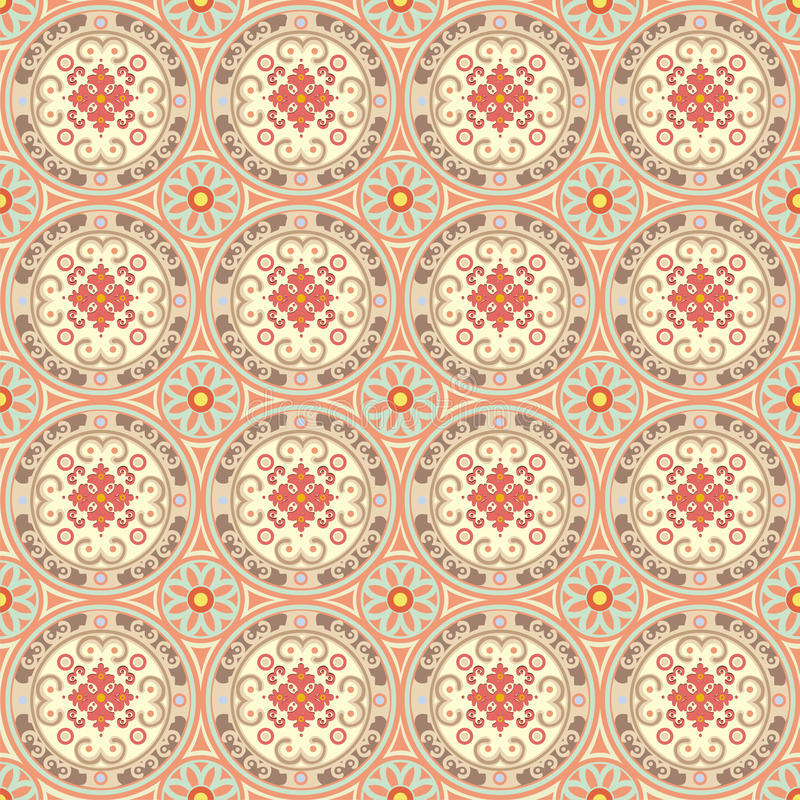 Seamless oriental style. Repeat with oriental-style flowers and geometric patterns of tiles (print, swatches, seamless background, wallpaper, or repeat mode vector illustration