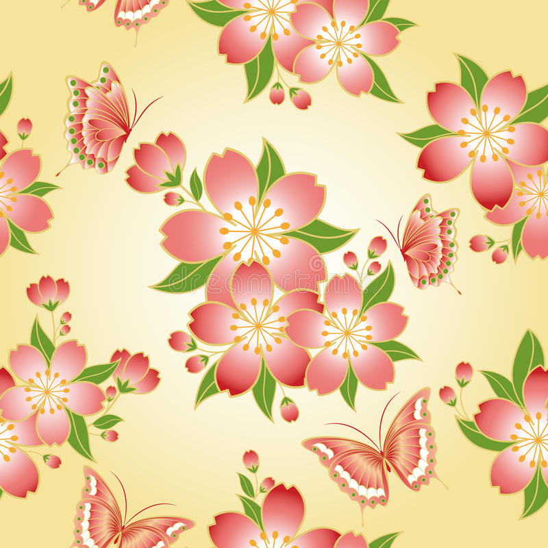 seamless orientalisk modell för blomningCherry royaltyfri illustrationer